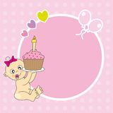 Frame baby girl. Baby girl with a birthday cake. Frame for photo or text vector illustration
