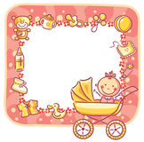 Frame with baby-girl things Stock Images
