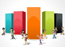 Frame background with cartoon people. Royalty Free Stock Image