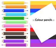 Frame on background with colored pencils Colour pencils. Vector Royalty Free Stock Photo