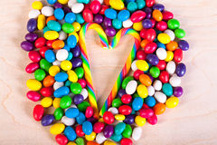 Frame   background from colorful sweets of sugar candies Stock Image