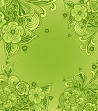 Frame or background  with doodle flowers  in green Royalty Free Stock Image