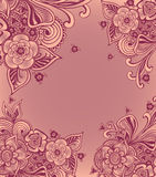 Frame or background  with doodle flowers  in pink Stock Photos