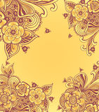 Frame or background  with doodle flowers  in yellow Royalty Free Stock Photography