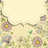 Frame on the background of flower doodles patterns Royalty Free Stock Photo