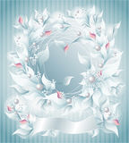 Frame or Background with flowers pearls petals rib. Bon light blue for wedding or other things Royalty Free Stock Photography