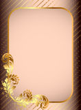 Frame background with gold(en) pattern and band Royalty Free Stock Photos