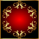 Frame background with gold(en) pattern on circle Royalty Free Stock Photos