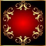Frame background with gold(en) pattern on circle stock illustration