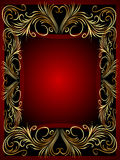 Frame background with gold(en) vegetable ornament Stock Photos