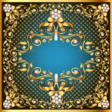 frame background with gold pattern by net and bow Stock Photo