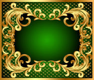 Frame background with gold vegetable pattern Stock Photo