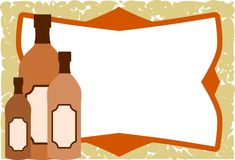 Frame on background with oil bottles Stock Image