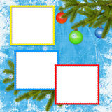 Frame with ball on the blue background. White frame with branches, ball and ribbon on the blue background Royalty Free Stock Photography