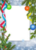 Frame with ball, ribbon on the blue backgroun. White frame with branches, ball and ribbon on the blue background Stock Photo