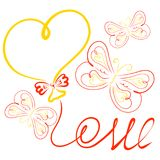 Frame, balloon in the shape of the heart, the word LOVE from the. Thread and charming patterned butterflies stock illustration