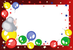 Frame with balloons and hedgehog,. Background -frame with balloons and hedgehog Royalty Free Stock Photo