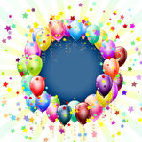 Frame with balloons and stars Royalty Free Stock Photo