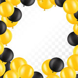 Frame of balloons on transparent background. Vector illustration. Frame of balloons on transparent background. Vector design for greeting cards. Gold and black Royalty Free Stock Photos