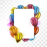Frame with balloons on transparent background. Royalty Free Stock Image