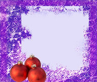 Frame and balls for christmas tree. Light frame with rip edges on blue violet background Stock Photography