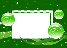 Frame with balls  and star on the green background. White frame with balls  and star on the green background Royalty Free Stock Photography