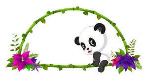 Frame of bamboo and baby panda. Illustration of frame of bamboo and baby panda Royalty Free Stock Photo