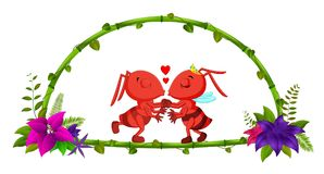 Frame of bamboo and couple ant. Illustration of frame of bamboo and couple ant Stock Image