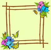 Frame from bamboo with  flowers Royalty Free Stock Image