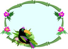 Frame of Bamboo with Toucan Bird Royalty Free Stock Photo
