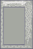 Frame baner post card. There is a banner with pattern and ribbon Stock Photo