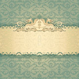 Frame banner with ornate wallpaper background Royalty Free Stock Photo