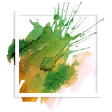 Frame banner with spot watercolor Stock Images