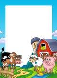 Frame with barn and farm animals vector illustration
