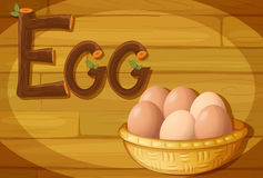 A frame with a basket of eggs Stock Images