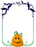 Frame with bats and pumpkin Royalty Free Stock Photos