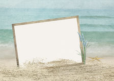 Frame in beach sand with starfish Stock Image