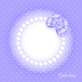 Frame with beads and bow Royalty Free Stock Images