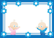Frame. Beautiful frame with baby boy and girl Stock Photography