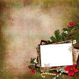 Frame with beautiful Christmas decoration on a vintage background Stock Photos
