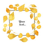 Frame with beautiful golden cherries on white background. Watercolor painting.  Royalty Free Stock Photos