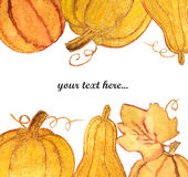 Frame with beautiful golden pumpkins on white background. Watercolor painting. Autumn concept. S Royalty Free Stock Images