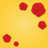 Frame of beautiful red roses on gradient gold background. Flat style of flowers, design for greeting, wedding, birthday, valentine Stock Photo