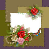 Frame with beautiful roses Stock Photo