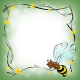 Frame with bee. And yellow flowers Royalty Free Stock Images
