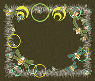 Frame with bees. Abstract frame with colored bees and circles on brown background Royalty Free Stock Photos