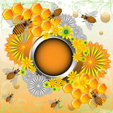 Frame with bees and flowers. Abstract colorful illustration with rounded metallic frame, bees, honeycomb and flowers Royalty Free Stock Photo