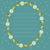 Frame of bees and flowers in a circle. Place for text from dashed lines. Turquoise card. Vector image royalty free illustration