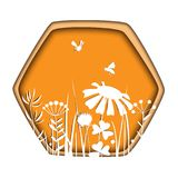 Frame with bees and flowers. Stylish paper cut frame with bees and doodle flowers. Floral vector illustration. Meadow plants white silhouettes in honey comb stock illustration