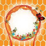 Frame with bees and honeycomb Royalty Free Stock Photography